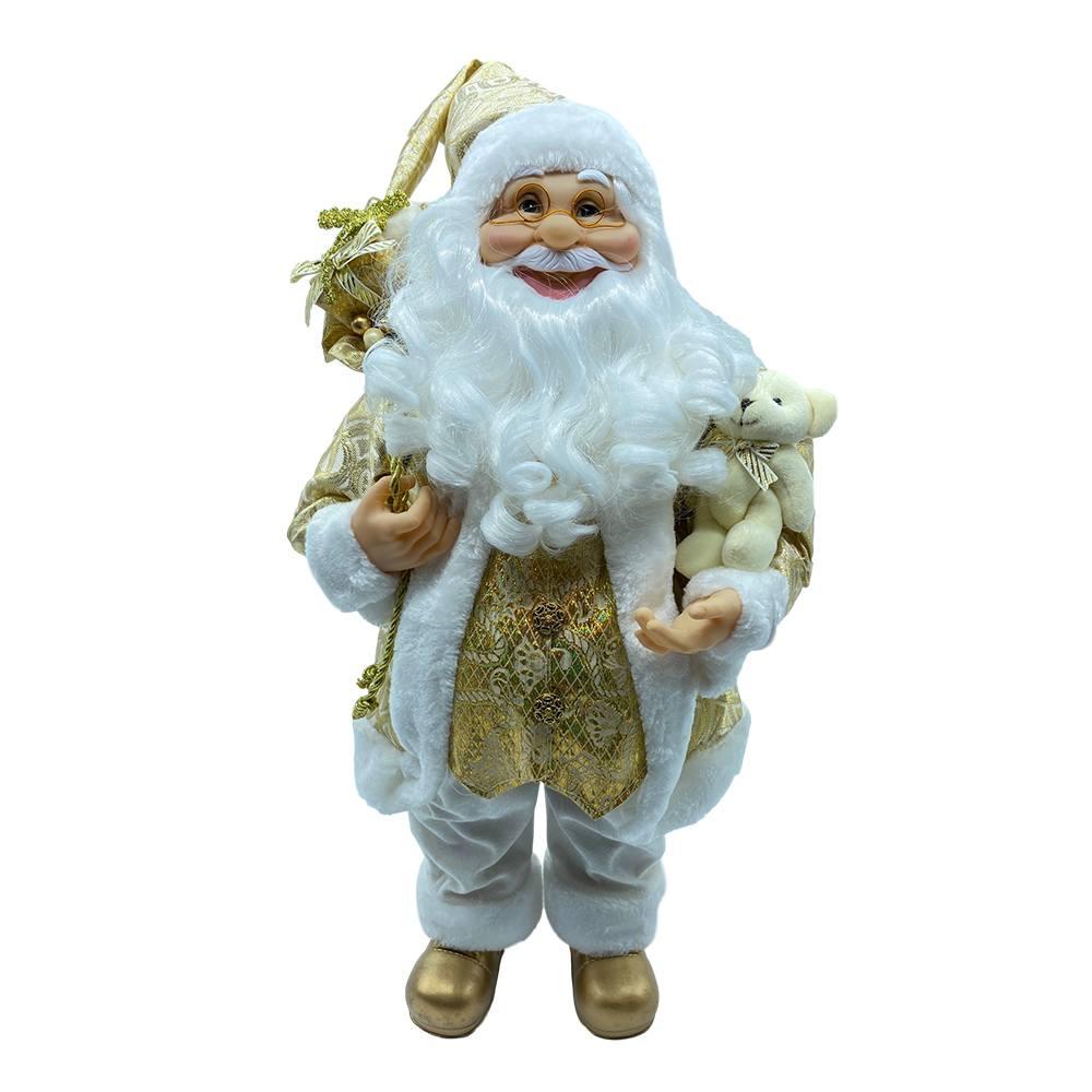 Il Babbo Natale.Babbo Natale Oro In Piedi Con Sacco Di Doni E Orsacchiotto Il Villaggio Di Babbo Natale