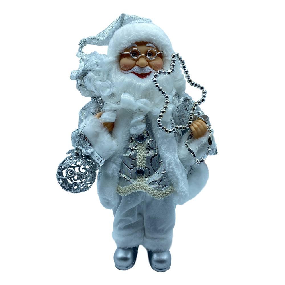 Il Babbo Natale.Babbo Natale Argento In Piedi Con Sacco Di Doni E Sfera Glitter Il Villaggio Di Babbo Natale
