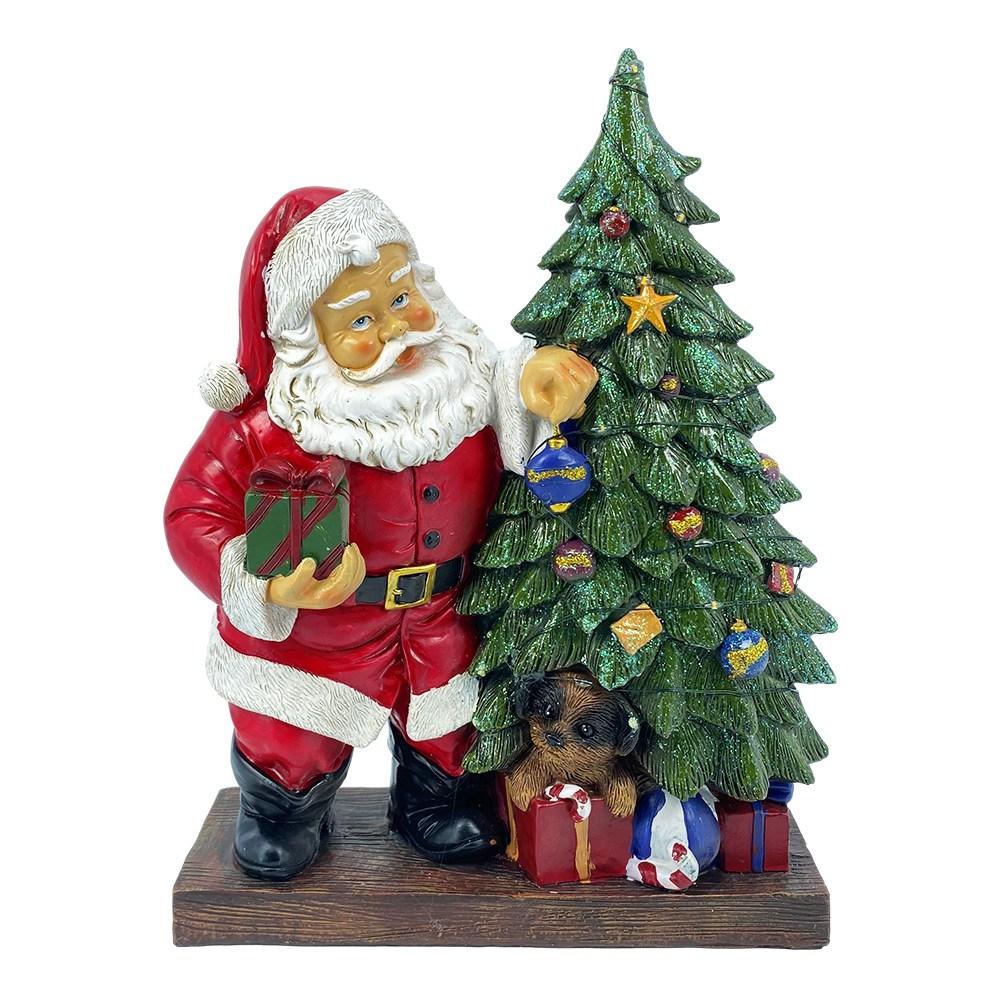 Albero Di Natale E Babbo Natale.Babbo Natale Con Led In Resina Con Albero E Doni H 30 Cm Il Villaggio Di Babbo Natale