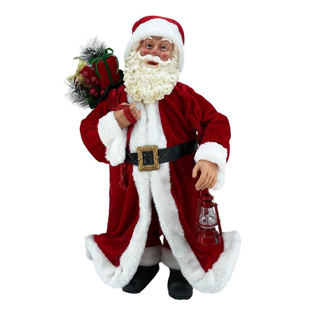 Babbi Natale.Babbo Natale Pregiato In Piedi Tradizionale H 65 Cm Il Villaggio Di Babbo Natale